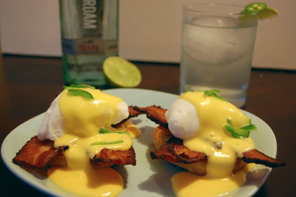 Eggs Benedict with Jalapeno G&T